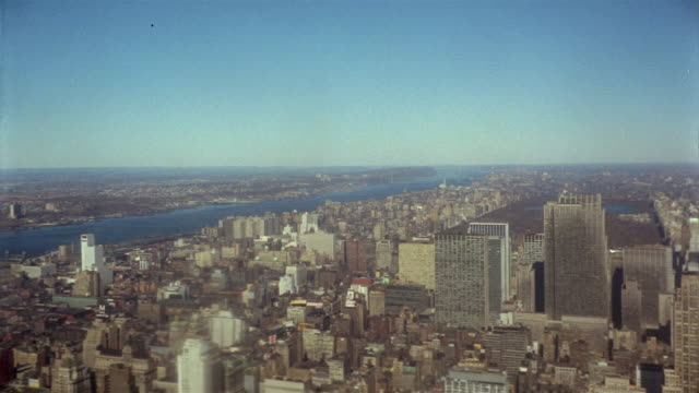1966 ws ha view of uptown manhattan/ new york, usa - 1966 stock videos and b-roll footage