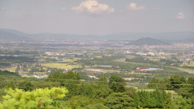 WS PAN View of urban area / Fukashima, Tohoku, Japan