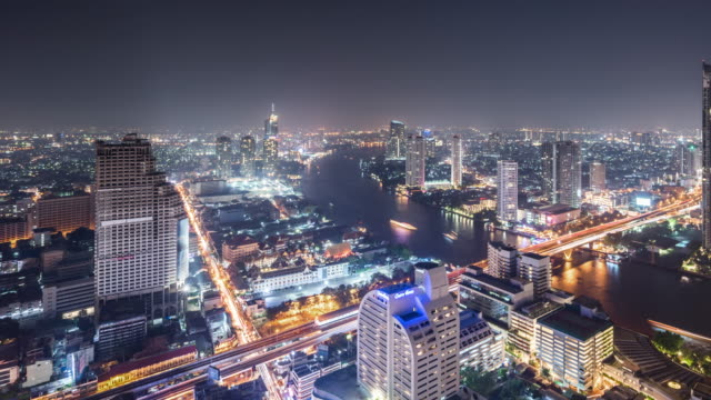 t/l ws ha pan view of urban skyline at night / bangkok, thailand - bangkok stock videos & royalty-free footage