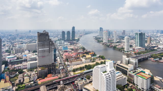 t/l ws ha pan view of urban skyline / bangkok, thailand - bangkok stock videos & royalty-free footage