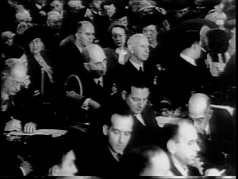 vídeos de stock, filmes e b-roll de view of us capitol building with statue in foreground / long shot of committee members in senate caucus room / pan of committee members seated at... - paramount building