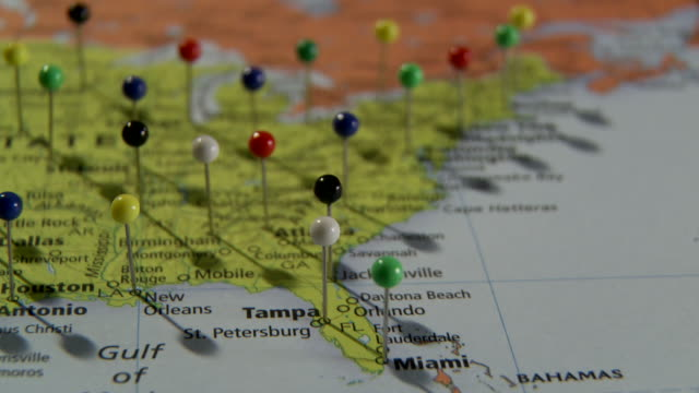 cu pan view of us east coast in world map with push pins in major cities / atlanta, georgia, usa - map stock videos & royalty-free footage