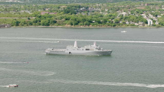 ws zo aerial view of us navy ships / new york city  - us navy stock videos & royalty-free footage