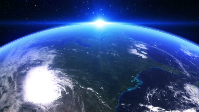 ws view of usa seen from space / bergen, hordaland, norway - 太陽系点の映像素材/bロール