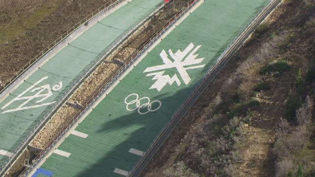 CU AERIAL ZO View of  Utah Olympic park ski jump / Park City, Utah, United States