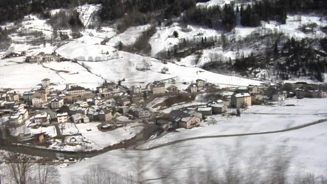 View of Val Poschiavo seen from the Bernina train