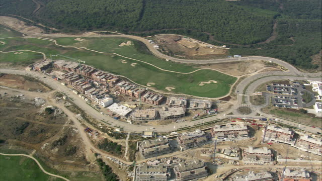 ws pov aerial view of valderrama golf course / san roque, andalusia, spain - cádiz stock videos and b-roll footage
