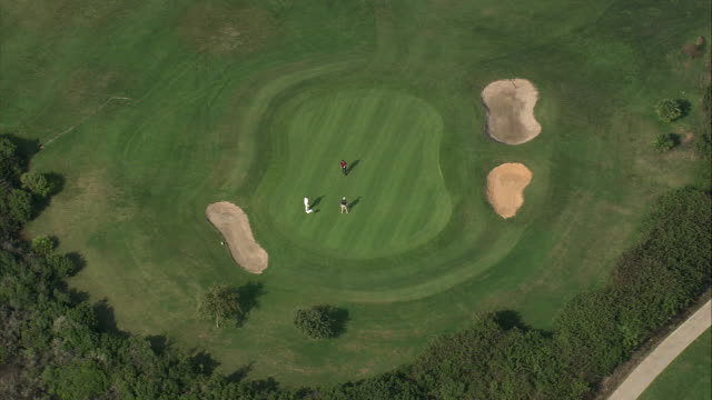 ws pov zo aerial view of valderrama golf course / san roque, andalusia, spain - cádiz stock videos and b-roll footage