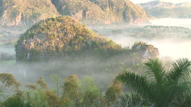 WS View of Valle Vinales and mogotes at sunrise with morning fog / Vinales, Pinar del Rio, Cuba