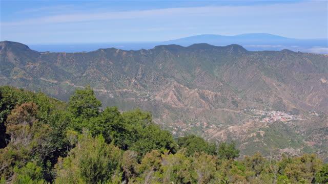 View of Vallehermoso from Mirador de Vallehermoso on Canary Islands La Gomera in the province of Santa Cruz de Tenerife - Spain