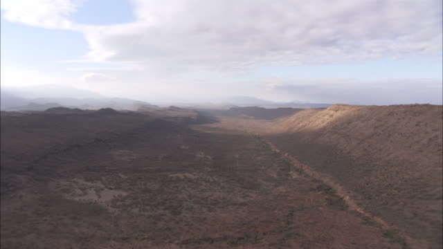 WS AERIAL View of valley and ridge in rift Valley / Kenya