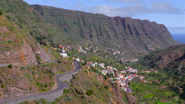 View of valley Hermigua on Canary Islands La Gomera in the province of Santa Cruz de Tenerife - Spain