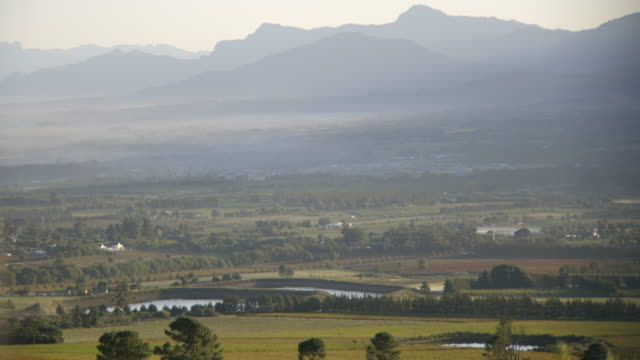 ws pan view of valley with mountains in distance and fynbos at early morning / franschhoek, western cape, south africa  - franschhoek stock videos and b-roll footage