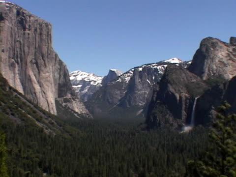 view of valley, yosemite national park - bridal veil falls yosemite stock videos & royalty-free footage