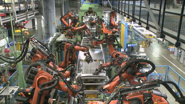 ws  view of van production in daimler ag factory / dusseldorf, north rhine-westphalia, germany - car plant stock videos & royalty-free footage
