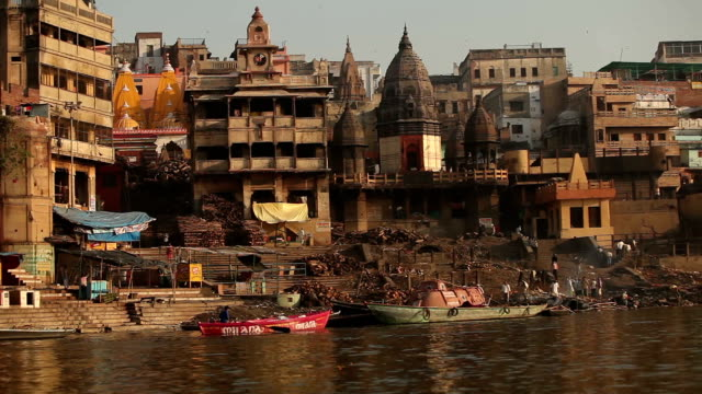 View of Varanasi city from a boat at the Ganges