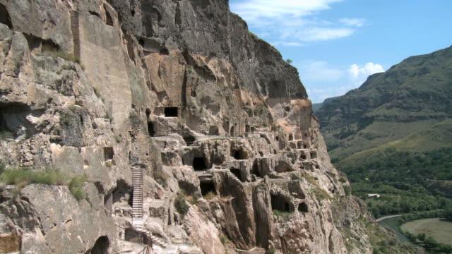 ms zo view of vardzia cave town complex / vardzia, georgia - eastern european culture stock videos and b-roll footage