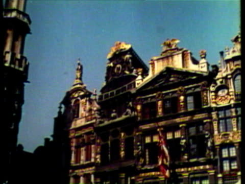 1953 ws td pan view of various architecture in different parts of europe / brussels, belgium / audio - regione di bruxelles capitale video stock e b–roll