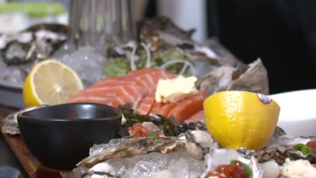 view of various seafood on seafood platter - silver platter stock videos and b-roll footage