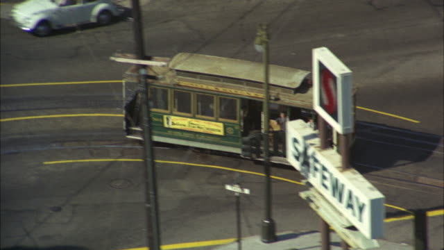 ws zo pov aerial view of vehicles at city road / san francisco, california, usa - 1967 stock videos & royalty-free footage