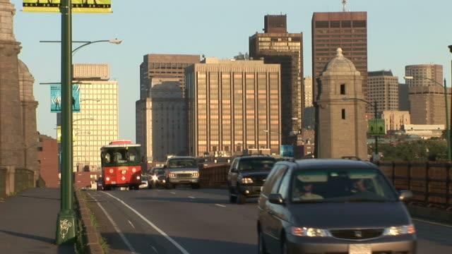 View of vehicles passing through Longfellow bridge in Boston United states