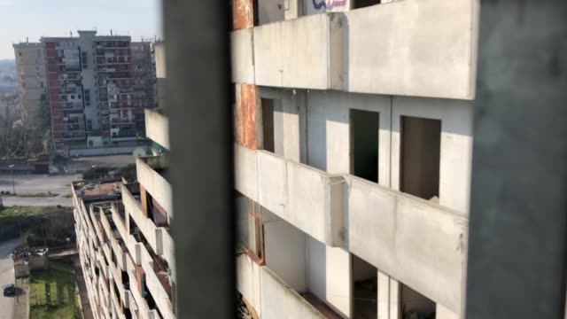 view of vele in scampia, naples, italy, on march 3, 2019. - serie televisiva video stock e b–roll