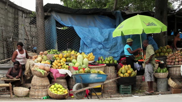 ws view of vendors sell tropical fruits and vegetables on busy street/ port-au-prince, haiti - ポルトープランス点の映像素材/bロール