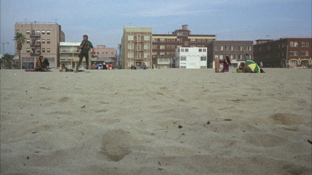 WS View of Venice Beach with city buildings in background / California, USA