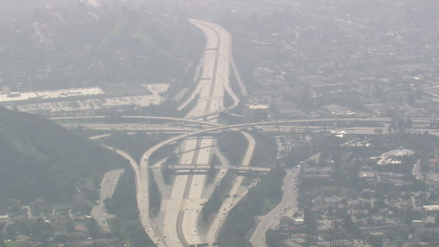 WS AERIAL View of Ventura Freeway, Pasadena / California, United States