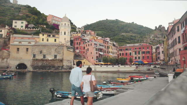 view of vernazza village in cinque terre. - tourism stock videos & royalty-free footage