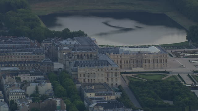 ws aerial zi view of versailles / paris, france - versailles video stock e b–roll