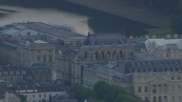 ws aerial view of versailles / paris, france - chateau de versailles stock videos and b-roll footage