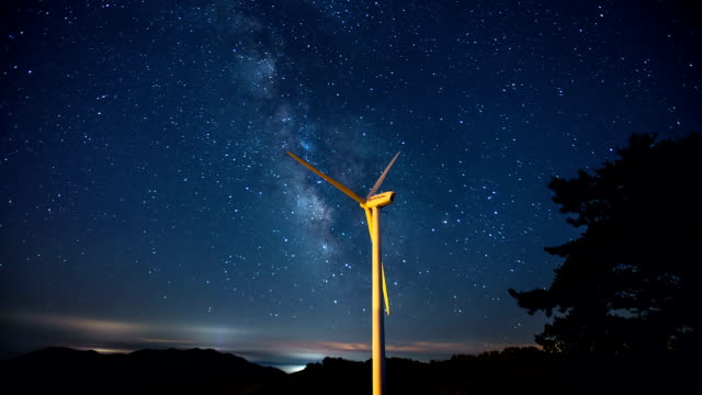 view of vertical axis wind turbine in gangneung and milky way in star field - wind power stock videos and b-roll footage