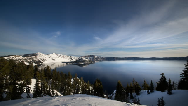 ws pan t/l view of pan view of crater lake / crater lake national park, oregon, united states  - crater lake oregon stock videos & royalty-free footage