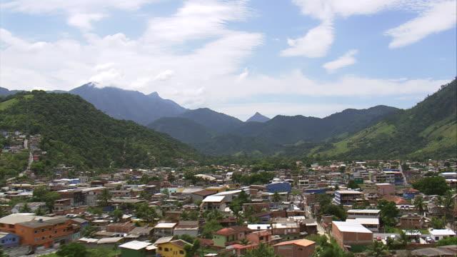 ws aerial view of village angra dos reis / rio de janeiro, brazil - dorf stock-videos und b-roll-filmmaterial
