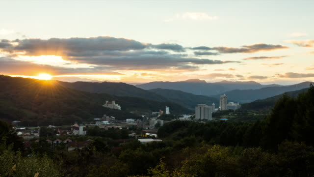 WS T/L View of village (The location for the 2018 winter Olympics) at sunrise / Pyeongchang, Gangwondo, South Korea