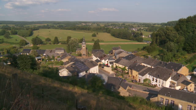 ws view of village / chasspierre, wallonia, belgium - village stock videos & royalty-free footage
