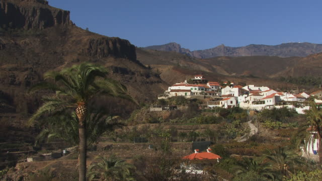 zo, ws, view of village fataga, gran canaria, canary islands, spain - fan palm tree stock videos & royalty-free footage