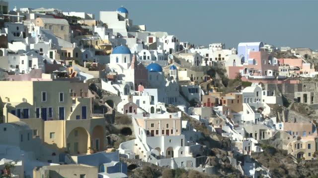 ms zo view of village oia / santorini, cyclades islands, greece - oia santorini stock videos and b-roll footage