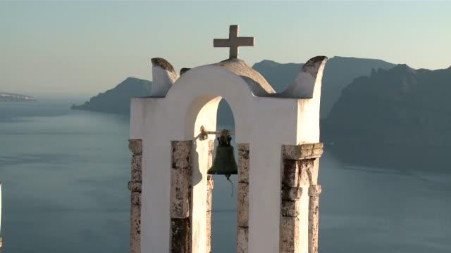 ms view of village oia / santorini, cyclades islands, greece - oia santorini stock videos & royalty-free footage