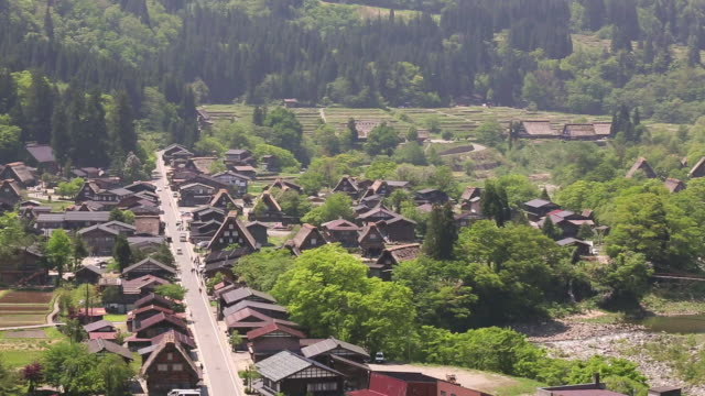 WS PAN TD View of village / Shirakawa go, Gifu Prefecture, Japan