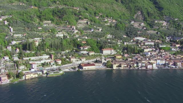 WS View of village situated neighbor lake / Lake Garda, Trentino, Verona, Brescia