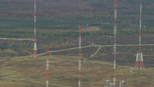 WS ARIEAL ZI ZO DS View of VLF Transmitter Cutler with US Navy Radio Station  / Maine, United States