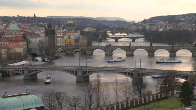 View of Vltava river and bridges in Prague, Czech Republic