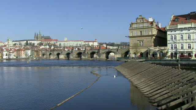 ws view of vltava river near by city / prague, hlavni mesto praha, czech republic - river vltava stock videos & royalty-free footage