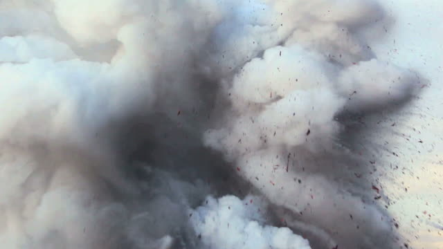 ms view of volcanic eruption and steam cloud rising to sky / kalapana, hawaii, usa - cenere video stock e b–roll