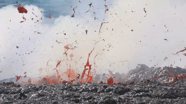 ms view of volcanic eruption, lava exploding / kalapana, hawaii, usa - erupting stock videos and b-roll footage