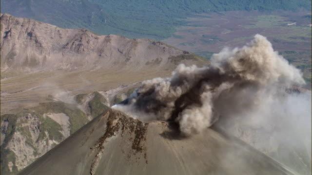 WS ZI View of volcano releasing ash from crater / Kamchatka Krai, Russia