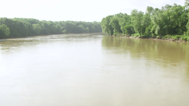 ws aerial pov view of wabash river with tree area / vigo county, terre haute, indiana, united states - indiana stock videos & royalty-free footage