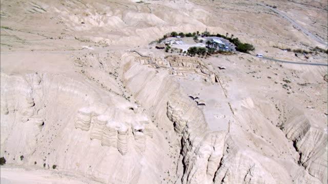 WS AERIAL ZI View of  wadi desert / Kalya,  Norrn Judea Desert, Israel